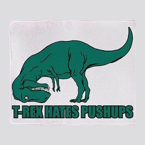 T-rex Hares Pushups Throw Blanket