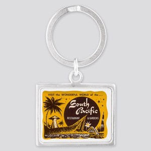 South Pacific Tiki Bar Landscape Keychain