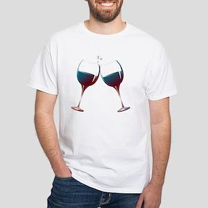 Clinking Wine Glasses White T-Shirt