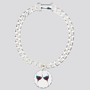 Clinking Wine Glasses Charm Bracelet, One Charm