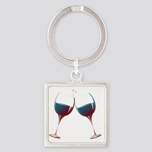 Clinking Wine Glasses Square Keychain