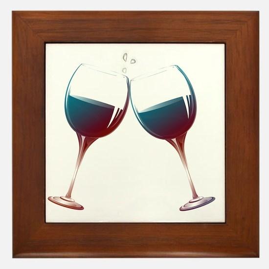 Clinking Wine Glasses Framed Tile