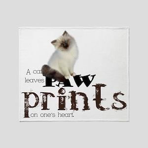 Brown / White Birman Cat Throw Blanket