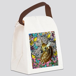 Bambina the Fawn in Butterflies Canvas Lunch Bag