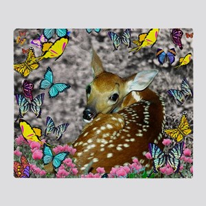 Bambina the Fawn in Butterflies Throw Blanket