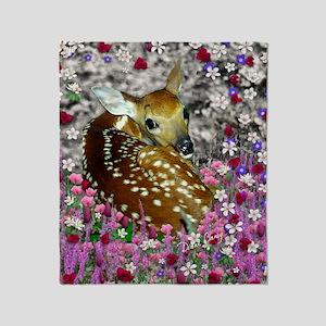 Bambina the Fawn in Flowers II Throw Blanket