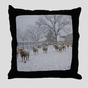 Wintery Snow Sheep Throw Pillow
