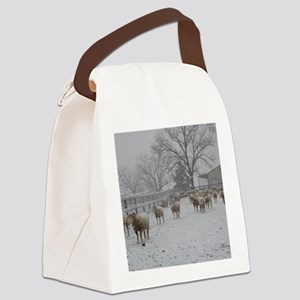 Wintery Snow Sheep Canvas Lunch Bag