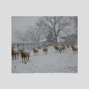 Wintery Snow Sheep Throw Blanket