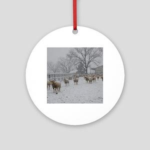 Wintery Snow Sheep Round Ornament