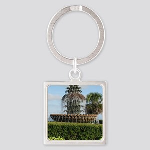 Charleston SC Pineapple Fountain Square Keychain