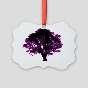 purple and black tree retro truck Picture Ornament