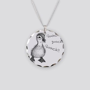 Duckling Quack, Baby Duck Necklace Circle Charm