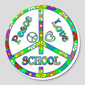 Peace Love School Round Car Magnet