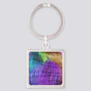 Musical Notes Square Keychain