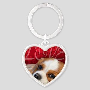 Cavalier King charles Spaniel Love Heart Keychain