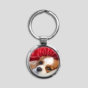 Cavalier King charles Spaniel Love Round Keychain