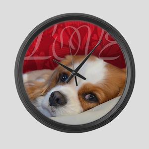 Cavalier King charles Spaniel Lov Large Wall Clock
