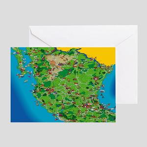 Mexico Cartoon Map Greeting Cards - CafePress