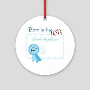 Born In The USA Round Ornament