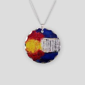 Colorado Flag Necklace Circle Charm