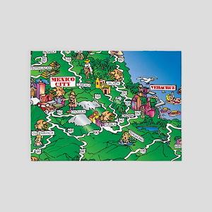 Mexico City map 5'x7'Area Rug