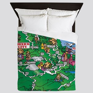 Mexico City map Queen Duvet