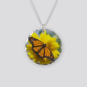 Monarch Butterfly Necklace Circle Charm