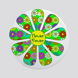 Cool Flower Power Round Ornament