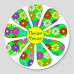 Cool Flower Power Round Car Magnet