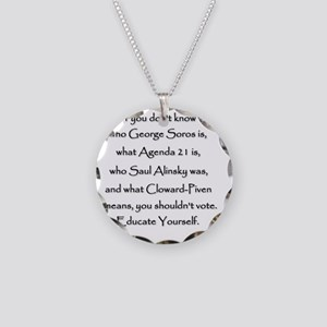 Educate Yourself or Dont Vot Necklace Circle Charm