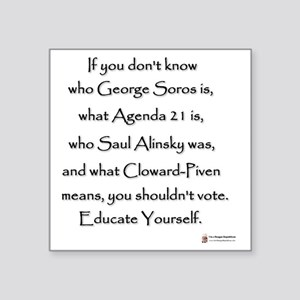 "Educate Yourself or Dont Vo Square Sticker 3"" x 3"""