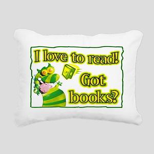 Reading Dragon Rectangular Canvas Pillow