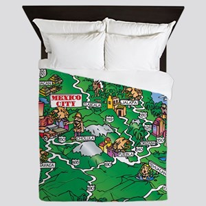 Mexico City Veracruz map Queen Duvet
