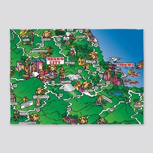 Mexico City Veracruz map 5'x7'Area Rug