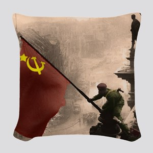 Russian Flag over the Reichsta Woven Throw Pillow