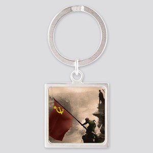Russian Flag over the Reichstag in Square Keychain