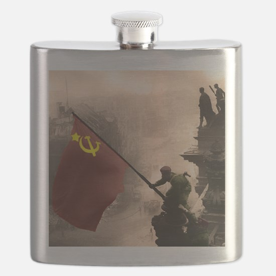Russian Flag over the Reichstag in Color Flask
