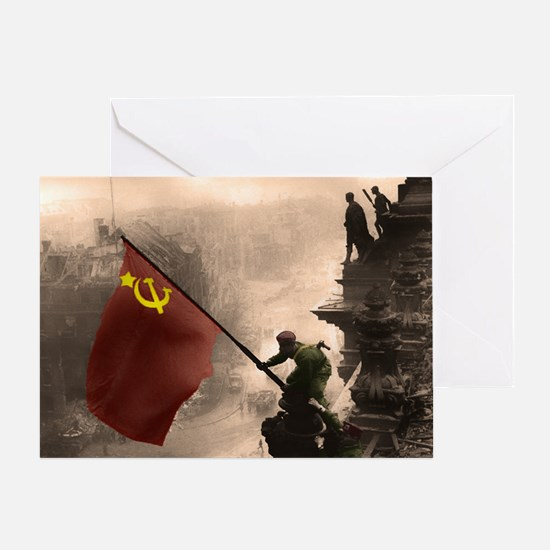 Russian Flag over the Reichstag in C Greeting Card
