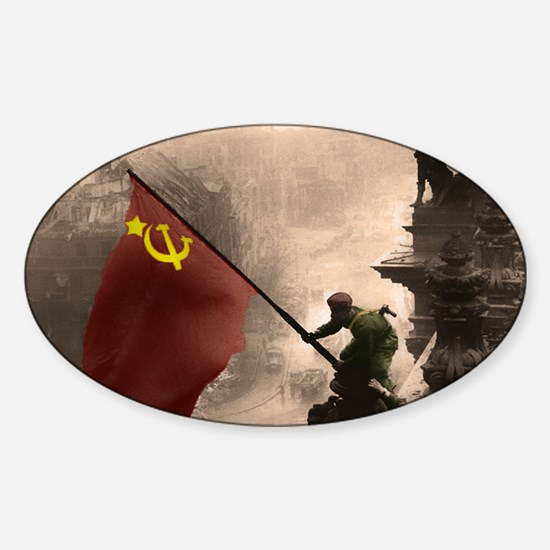 Russian Flag over the Reichstag in  Sticker (Oval)