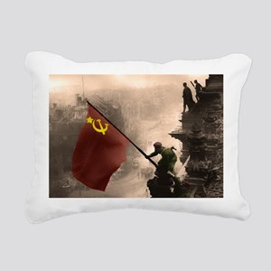 Russian Flag over the Re Rectangular Canvas Pillow
