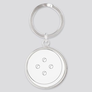 Large white shirt button Round Keychain
