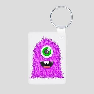 Purple Monster Aluminum Photo Keychain