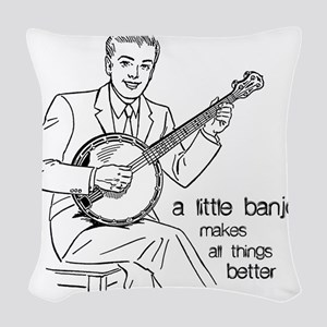 Little Banjo Makes All Things  Woven Throw Pillow