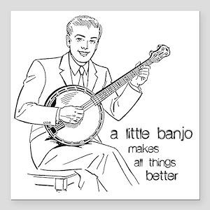 "Little Banjo Makes All T Square Car Magnet 3"" x 3"""