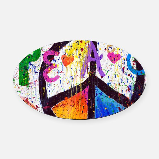 Love and Peace and Children Oval Car Magnet