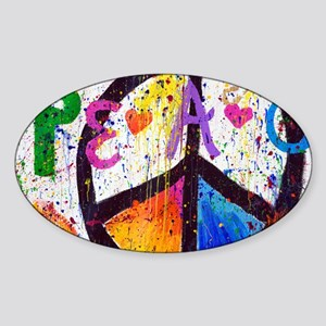 Love and Peace and Children Sticker (Oval)