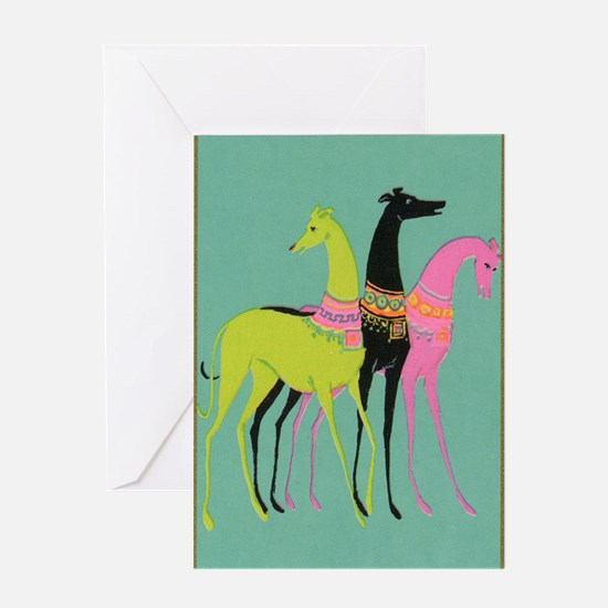 Art Deco Ornate Greyhounds Greeting Card