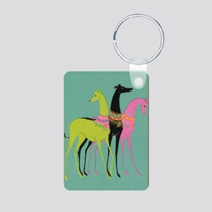Art Deco Ornate Greyhounds Aluminum Photo Keychain