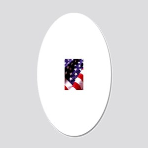 American Flag 20x12 Oval Wall Decal
